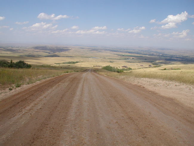 Red Grade Road following reconstruction activities: crush gravel, grade and re-gravel.