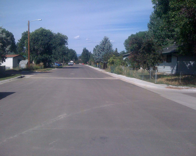 Newly-paved Halbert Street in Ranchester. The project was needed to upgrade a high-traffic gravel street to pavement, as well as install curbs and gutters.
