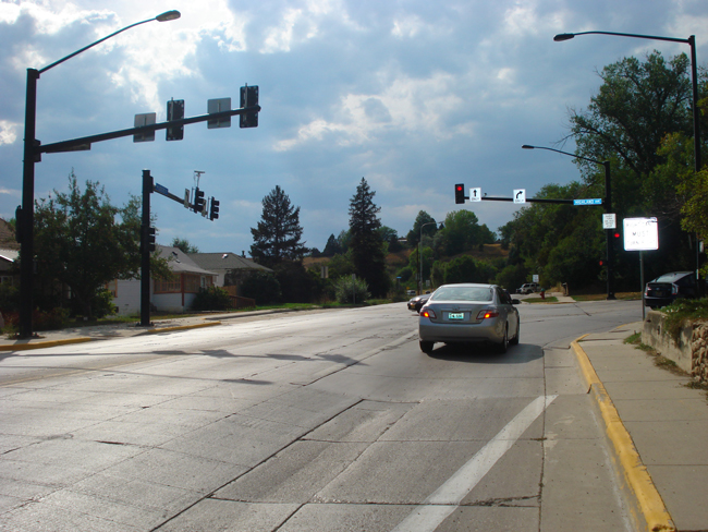 Traffic signal installed at the Highland/Loucks intersection in Sheridan. This made the intersection safer for both pedestrians and traffic, and improved traffic flow.