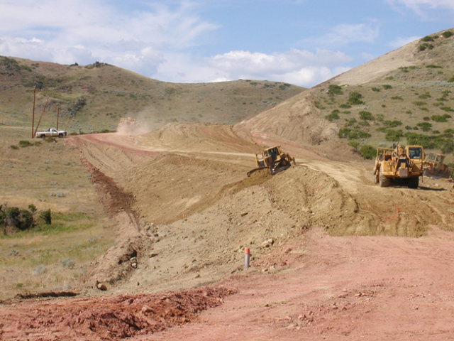 Reconstruction activities on Upper Cat Creek Road at the location of a slide out.