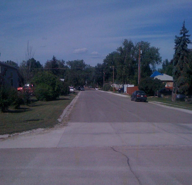 Hardin Street in Ranchester after Main and Hardin were paved for the first time. Both streets were previously gravel.